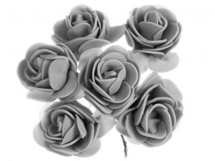 Różyczki z Pianki Szare 6szt [Komplet 12 pęczków]