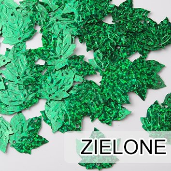 Cekiny Liście Klonu Zielone 40szt - [ Komplet - 20 sztuk]
