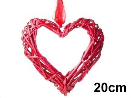 Serce Wiklinowe Czerwone PUSTE 20cm [Komplet - 10 sztuk]