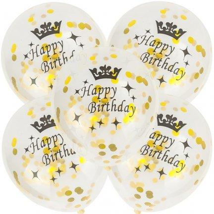 Balony Happy Birthday Konfetti Złote [Komplet - 5 opakowań]