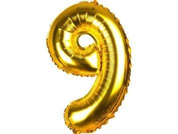 Balony Foliowe Cyferka 9 Złota 70cm - [ Komplet - 10 sztuk]