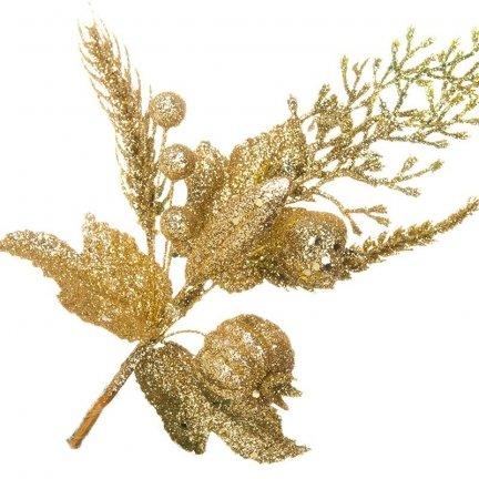 Dekoracja Owoce Brokatowe Pik Złoto [Komplet 5 sztuk] 602953