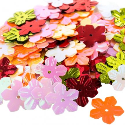 Cekiny Kwiatki Nacinane Mix - [ Komplet - 20 sztuk]