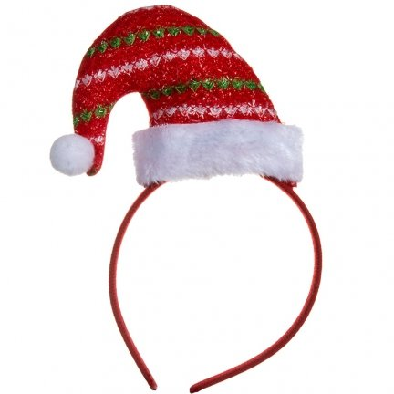 Opaska Świąteczna Czapeczka Dzwoneczek [Komplet 12szt]