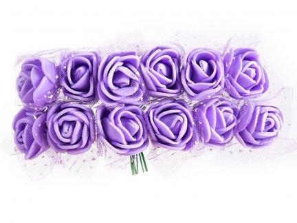 Różyczki z Pianki Na Druciku Wrzos [Zestaw - 5 kompletów po 144 szt]