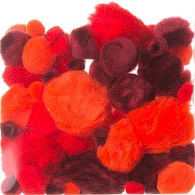Pompony Mix Wielkości Czerwone 60szt [Komplet  10 paczek]