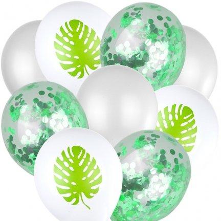 Balony z Konfetti Liść [Komplet - 5 zestawów]