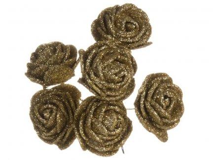 Różyczki z Pianki Brokatowe 6szt - Złote [Zestaw - 12 kompletów]