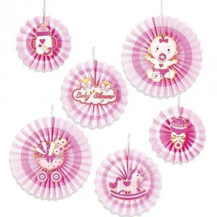 Rozety Papierowe Różowe Baby Shower [Komplet - 2 opakowania]