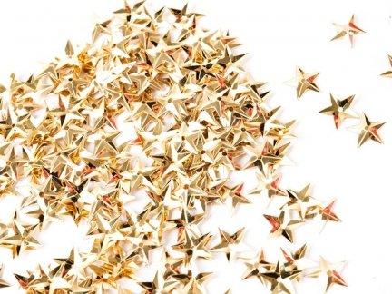 Cekiny Gwiazdki Małe 10mm Złoto  - [ Komplet - 20 sztuk]