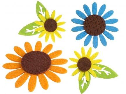 Naklejki z Filcu Kwiatek z listkiem [Zestaw- 10 Paczek]