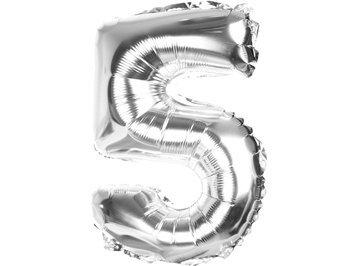 "Balony Foliowe Cyferka ""5"" Srebrna 100cm - [ Komplet - 10 sztu]"