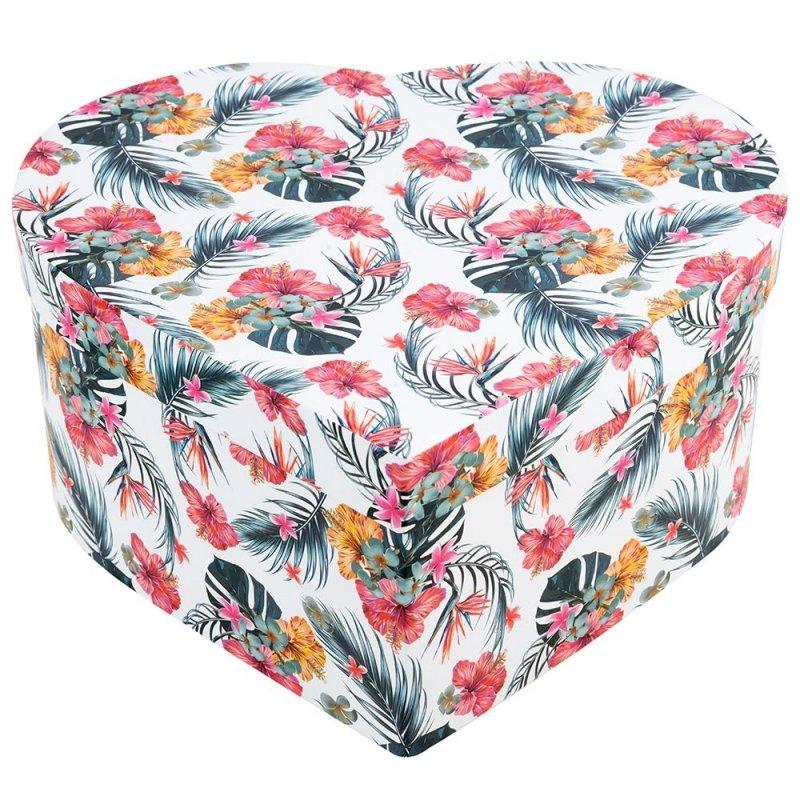 Flower Box Serce Białe W Liście Palmy Duży