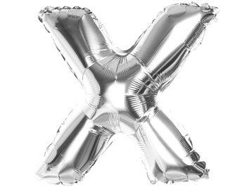 "Balony Foliowe Literka ""X"" Srebrna 40cm - [ Komplet - 20 sztuk]"