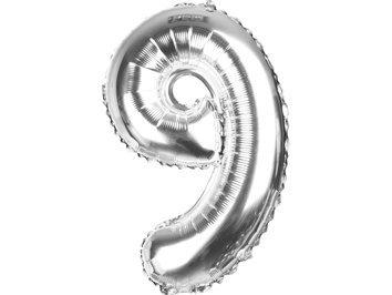"""Balony Foliowe Cyferka """"9"""" Srebrna 70cm - [ Komplet - 10 sztuk]"""