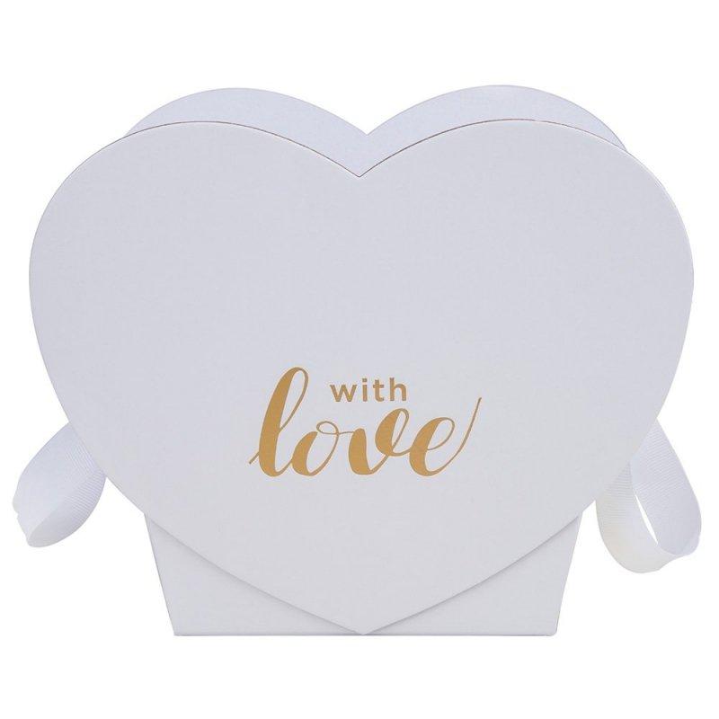 "Flower Box Serce ""With Love"" Białe 1"