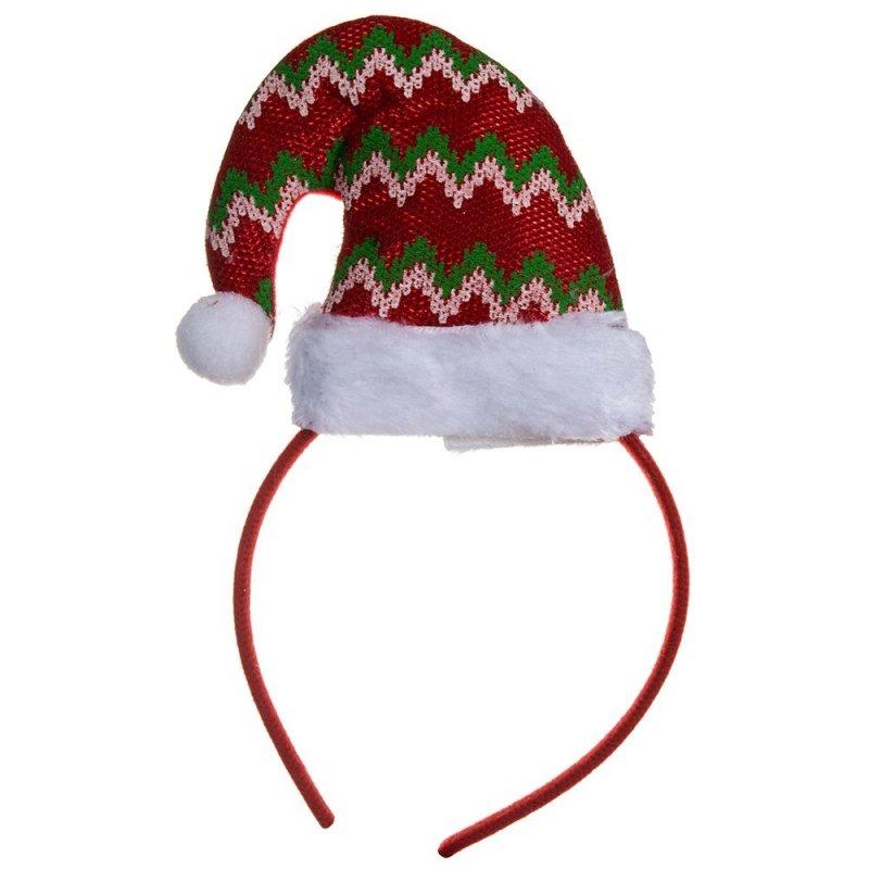 Opaska Świąteczna Czapeczka Zygzaki [Komplet 12szt]