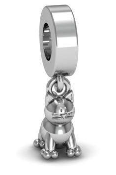 Zawieszka modułowa koralik charms srebro 925 kot
