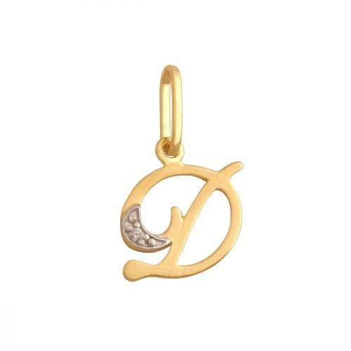 Zawieszka złota 585 litera, literka D -  34829