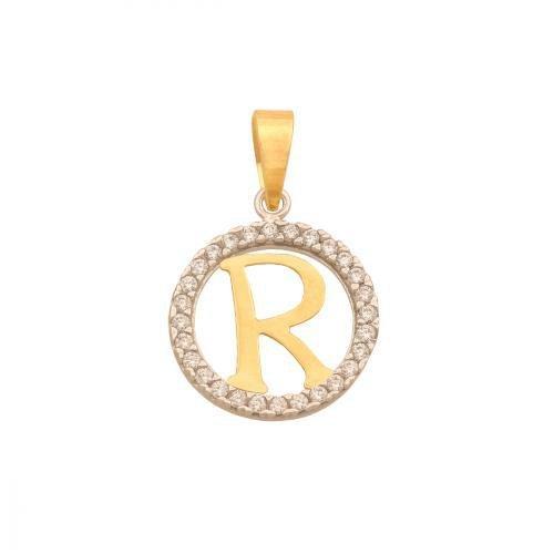 Zawieszka złota 585 litera, literka R -  42271