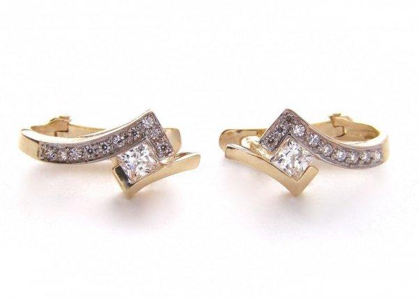 Kolczyki złote 585 na klapkę, zatrzaskowe - ARTES-Kolczyki złote 440 PR. 585