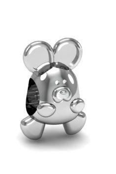 Zawieszka modułowa, koralik, charms srebro 925, myszka