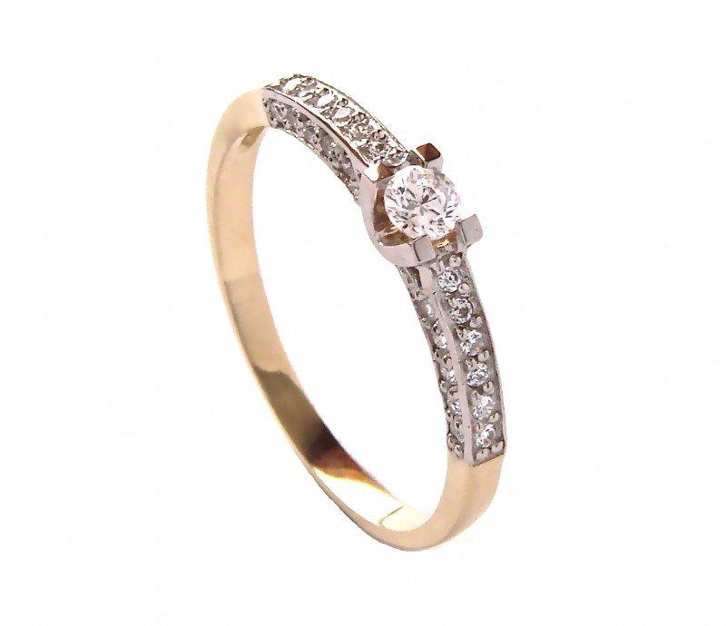 ARTES-Pierścionek złoty zaręczynowy 24H białe złoto BC-105 PR. 585