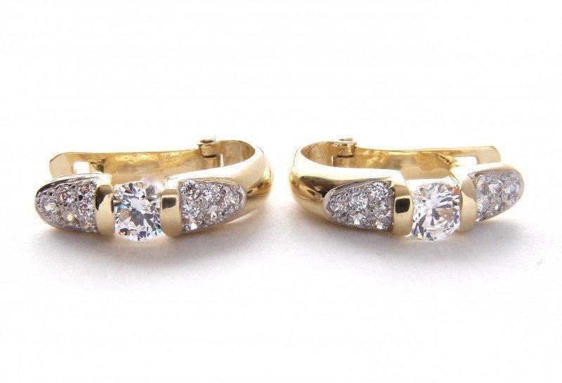 Kolczyki złote 585 na klapkę, zatrzaskowe - ARTES-Kolczyki złote 420 PR. 585