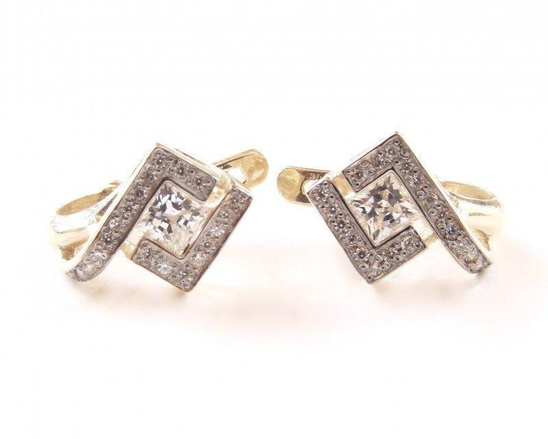 Kolczyki złote 585 na klapkę, zatrzaskowe - ARTES-Kolczyki złote 490 PR. 585