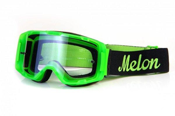 Gogle Melon PARKER MTB/MX Zielony gumowy mat (Pasek i szkło do wyboru)