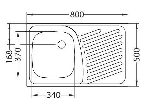 ZLEWOZMYWAK ALVEUS COMPACT 10 50x80 cm 1-KOMOROWY INOX