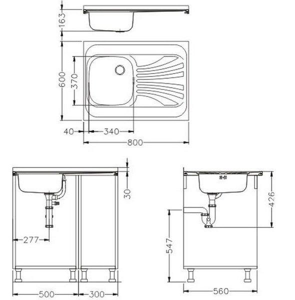 Zlewozmywak Alveus Classic 30 60x80 cm 1-komorowy INOX +syfon