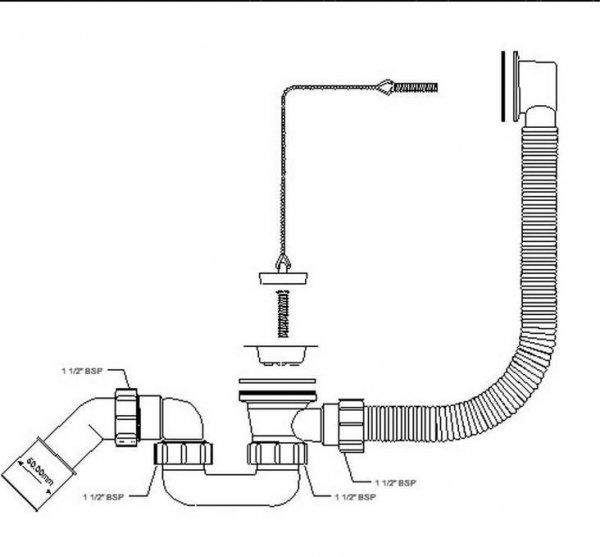 Syfon wannowy brodzikowy HC30-EX z korkiem