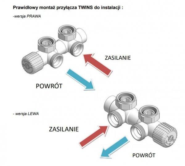 Varioterm Twins Zestaw instalacyjny grzejnika 50 mm mosiądz antyczny