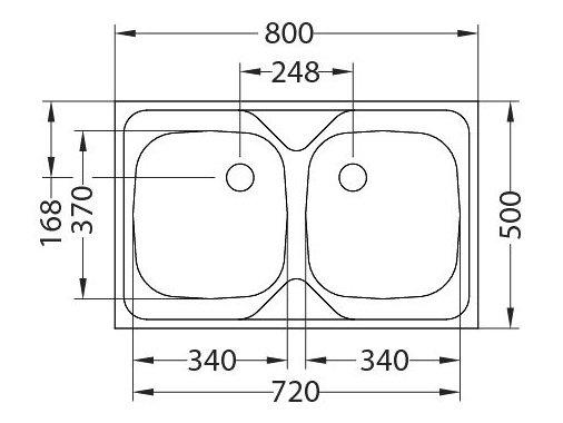 ZLEWOZMYWAK ALVEUS COMPACT 20 80x50 cm 2-KOMOROWY INOX