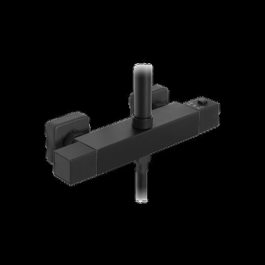 Deszczownica czarna z baterią termostatyczną Svart