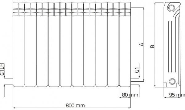 Wulkan H-350 grzejnik aluminiowy Diamond 1121 W