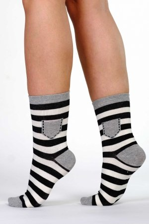 Supa! Sox! Grey Stripes ladies socks