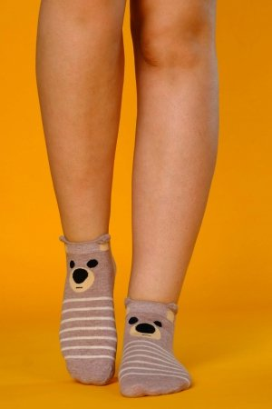 Supa! Sox! Brown Teddy ladies socks