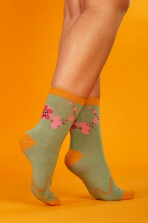 Supa! Sox! Green Flowers ladies socks