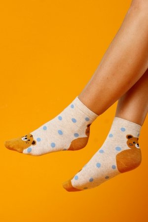 Supa! Sox! Beige Bear ladies socks (JP6139)