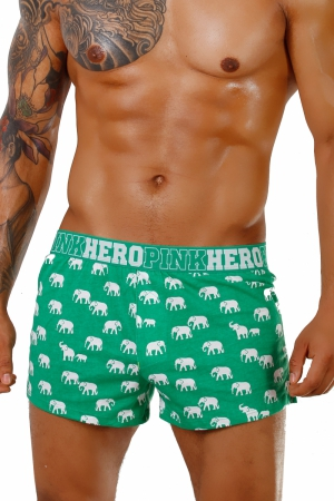 PINK HERO Green Elephants Loose Trunks