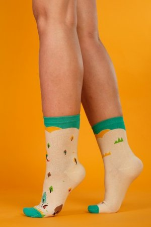 Supa! Sox! Beige Forest ladies socks