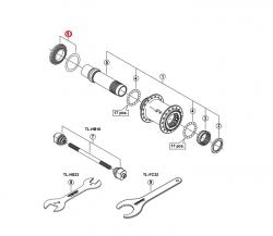Nakrętka i podkładka tarczy Shimano Center Lock do piasty HBM776 (15mm)