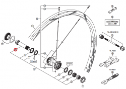 Oś piasty przód Shimano WH-M980-F15-29