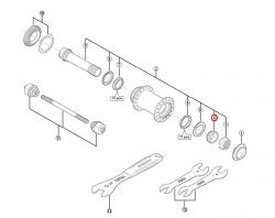 Stożek piasty przód Shimano HB-M988 prawy (M19)