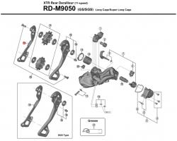 Wózek przerzutki Shimano XTR RD-M9050 GS wewnętrzny