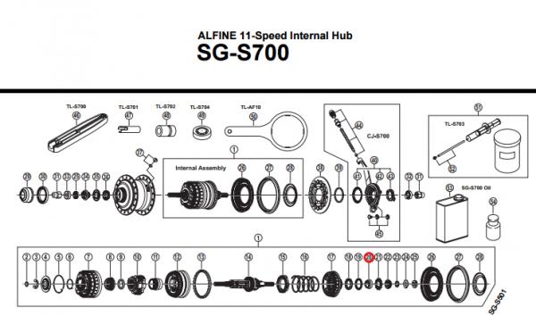 Stożek piasty Shimano Alfine SG-S700 prawy
