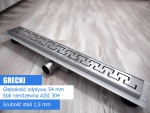 AQUALine - Odpływ podłogowy liniowy GRECKI Rozmiar do wyboru 50-110cm L03