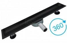 BW-TECH Odpływ liniowy podłogowy 2w1 – pod płytkę – CZARNY Matowy Obrotowy syfon – 360o Stal nierdzewna (AISI 304) Rozmiary 50-120cm
